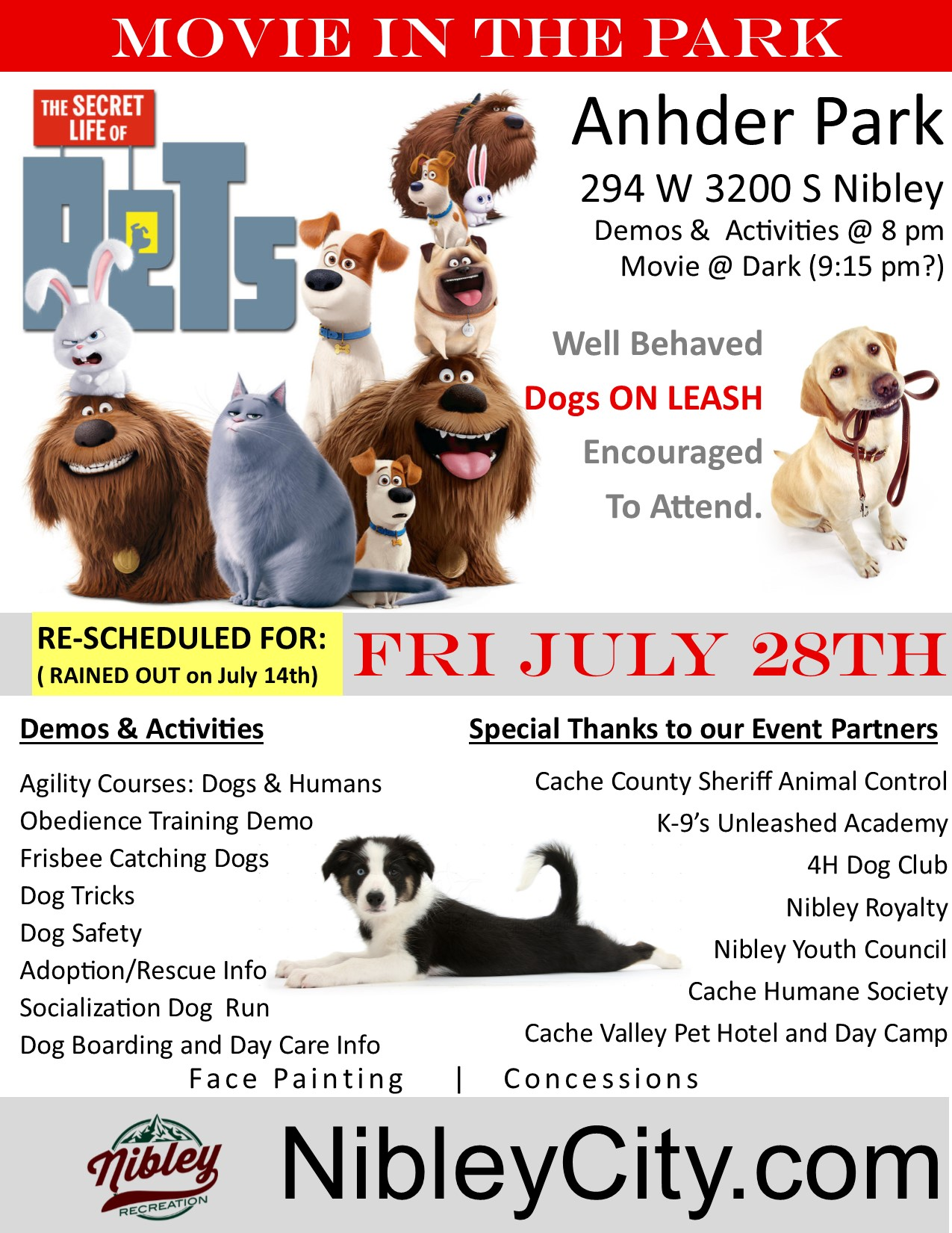 28TH Reschedule Secret Life of Pets Nibley Movie in Park 8.5x11 Flyer