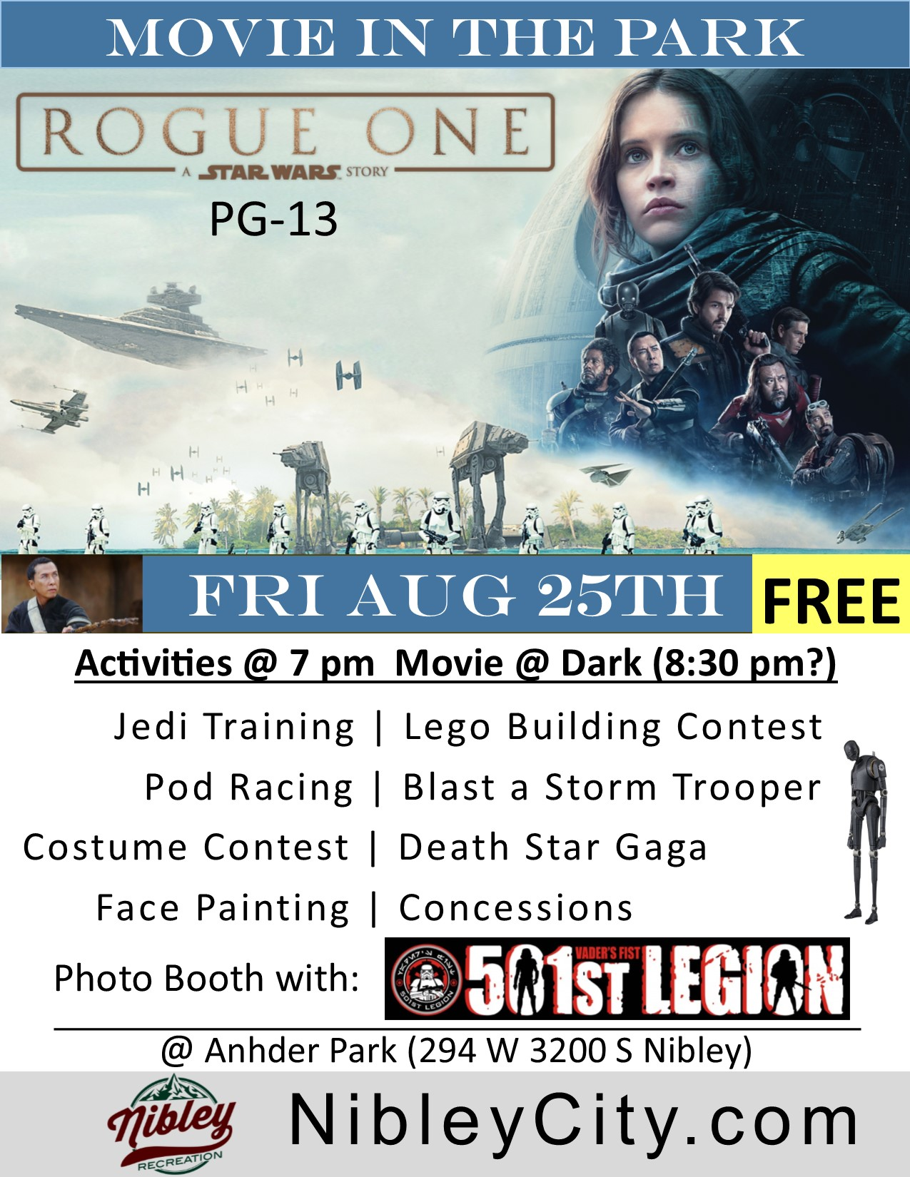 Star Wars Rogue One Nibley Movie in Park 8.5x11 Flyer